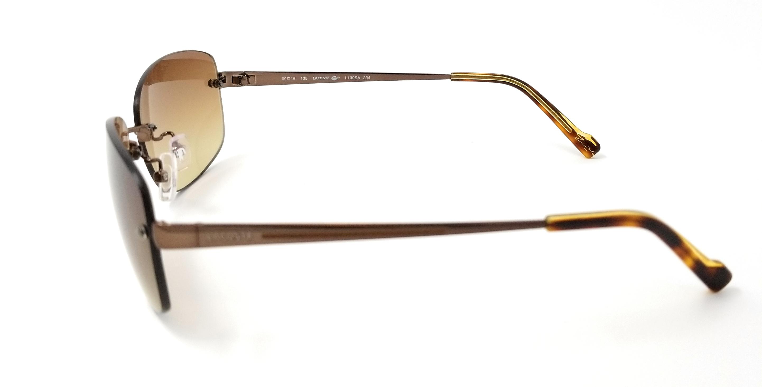 fec9bf01b2f836 Lacoste - LACOSTE Sunglasses L139SA 234 Shiny Ligh Rectangular Womens  60x16x135 - Walmart.com