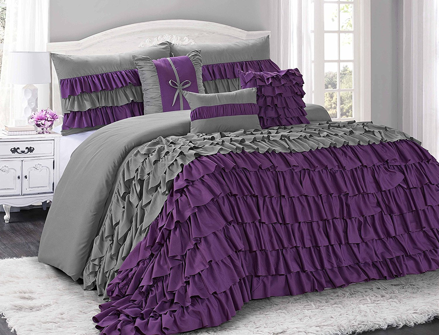 Uniquen home 7 piece brise double color clearence ruffled comforter set queen king cal king size queenpurple grey walmart com