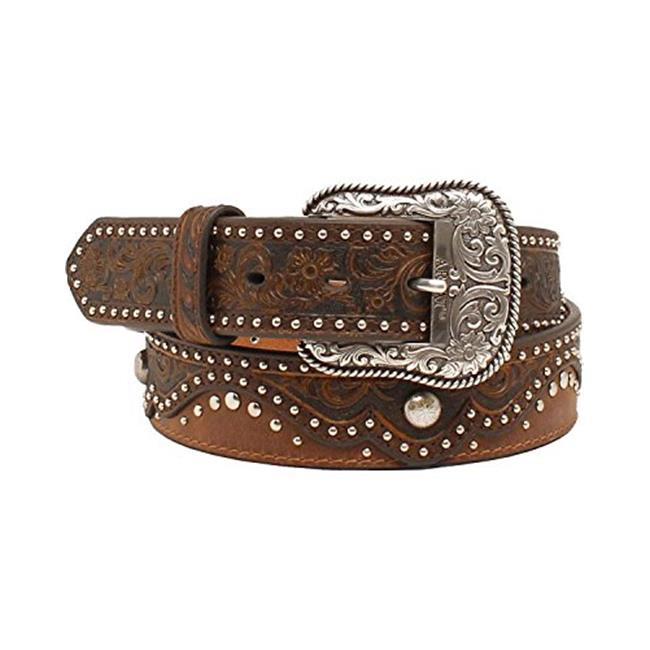 Ariat A1520202-L 1.5 in. Womens Embossed Nailhead Belt, Brown - Large - image 1 of 1