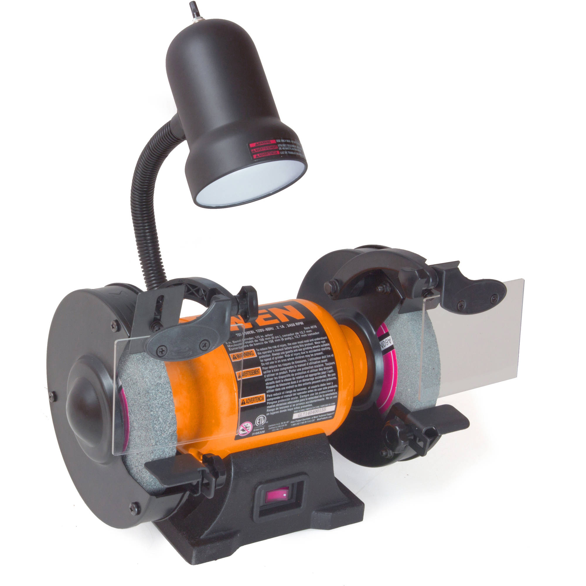 WEN 2.1-Amp 6-Inch Bench Grinder with Flexible Work Light