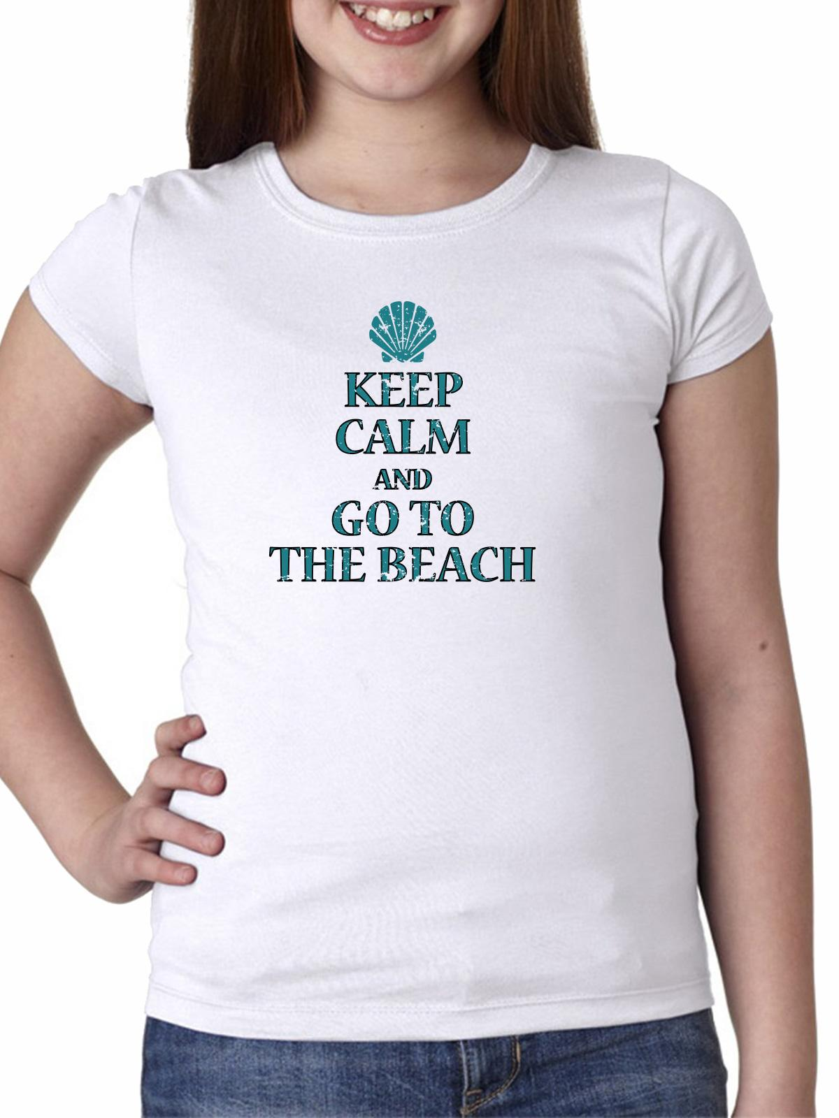 Keep Calm And Go To The Beach - Sea Shell Graphic Girl's Cotton Youth T-Shirt