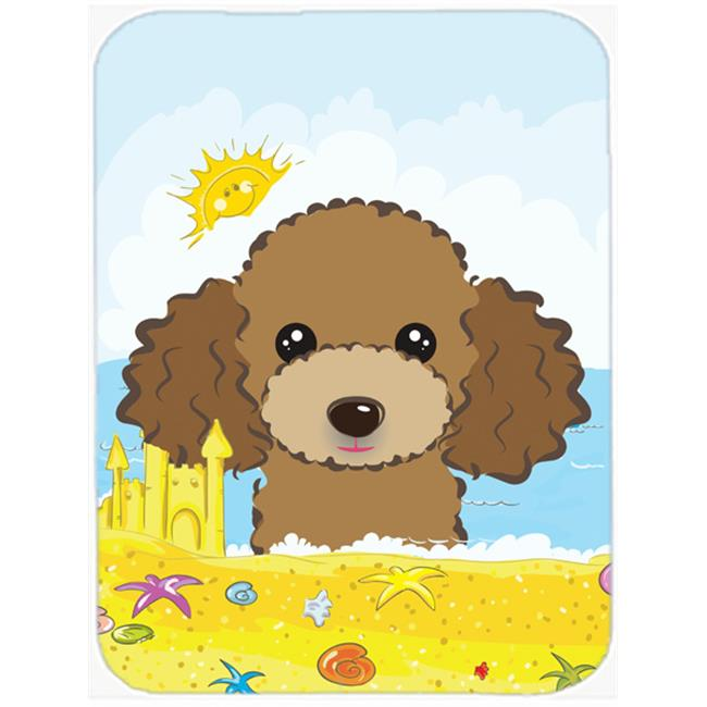Chocolate Brown Poodle Summer Beach Mouse Pad, Hot Pad or Trivet