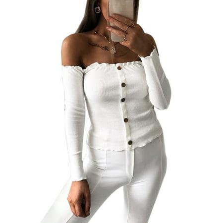 c3b13894d3d86 Women Off Shoulder Bardot Tops Autumn Casual Slim Knit Shirts Buttons Front  Long Sleeve Knitwear Blouse Jumper