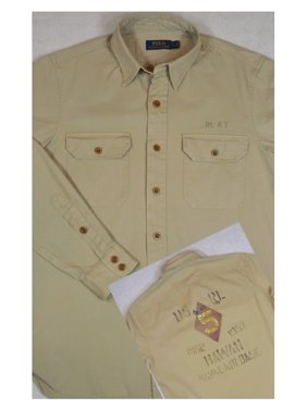 97c58f472 Product Image Polo Ralph Lauren Men's Big Tall Cotton Twill Shirt Brown  Size 3-Large Tall