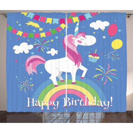 Unicorn Party Curtains 2 Panels Set, Happy Birthday Quote with Fairy Tale Animal Marching on Rainbow with Balloons, Window Drapes for Living Room Bedroom, 108W X 108L Inches, Multicolor, by Ambesonne