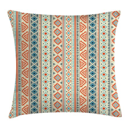 Tribal Decor Throw Pillow Cushion Cover Mexican Style Aztec Pattern Retro Hand Drawn Abstract