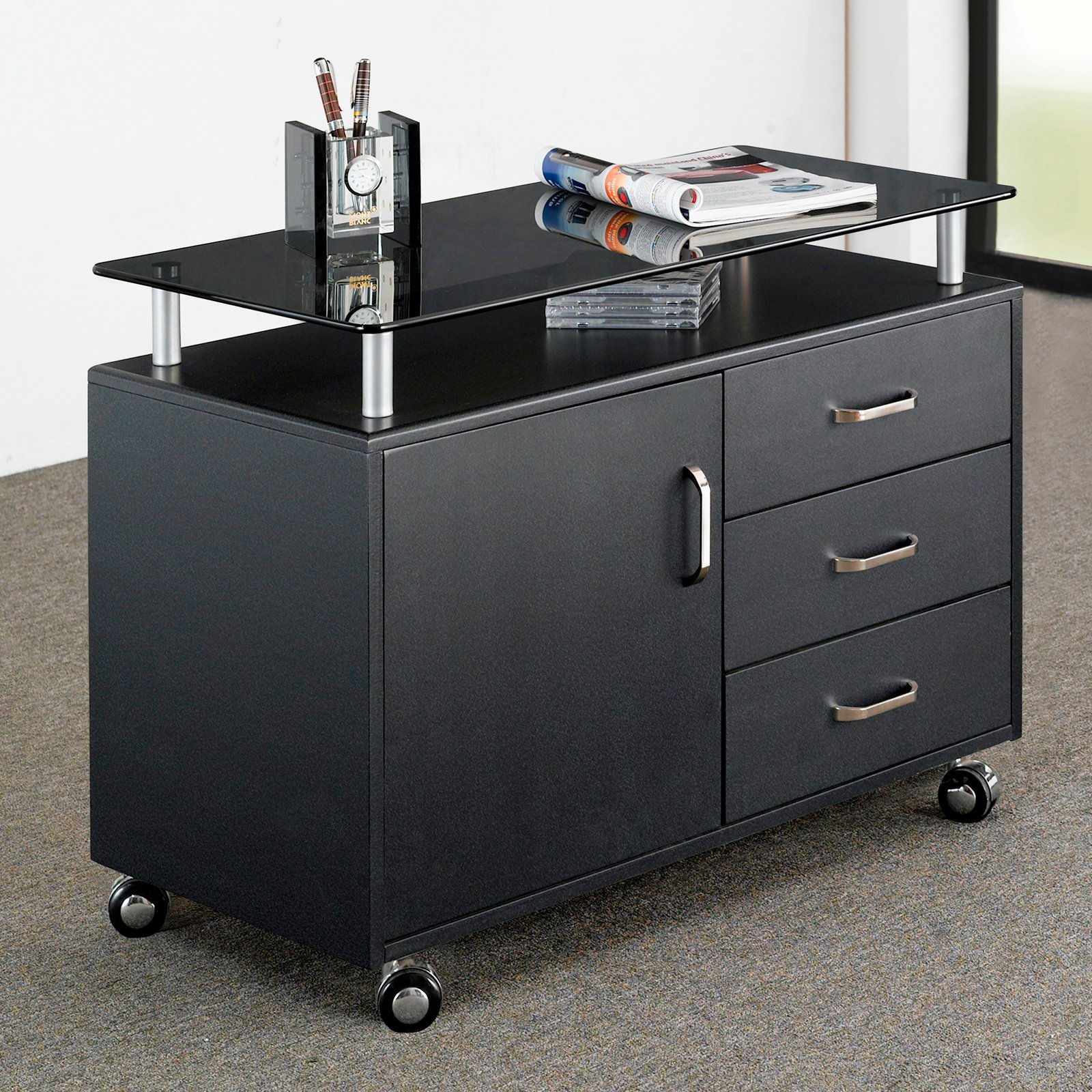 Techni Mobili Glass Top File Cabinet With Storage
