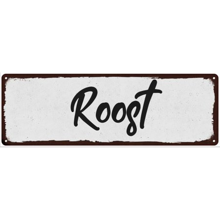 Shabby Decor - Roost Black on White Shabby Chic Metal Sign 6x18 Room Decor 106180049002