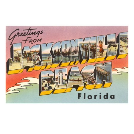 Greetings from Jacksonville Beach, Florida Print Wall Art - Halloween Jacksonville Beach Fl