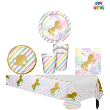 Unicorn Sparkle Party Supply Pack - Tableware for 8 Guests (Party Supplies Lincoln Ne)