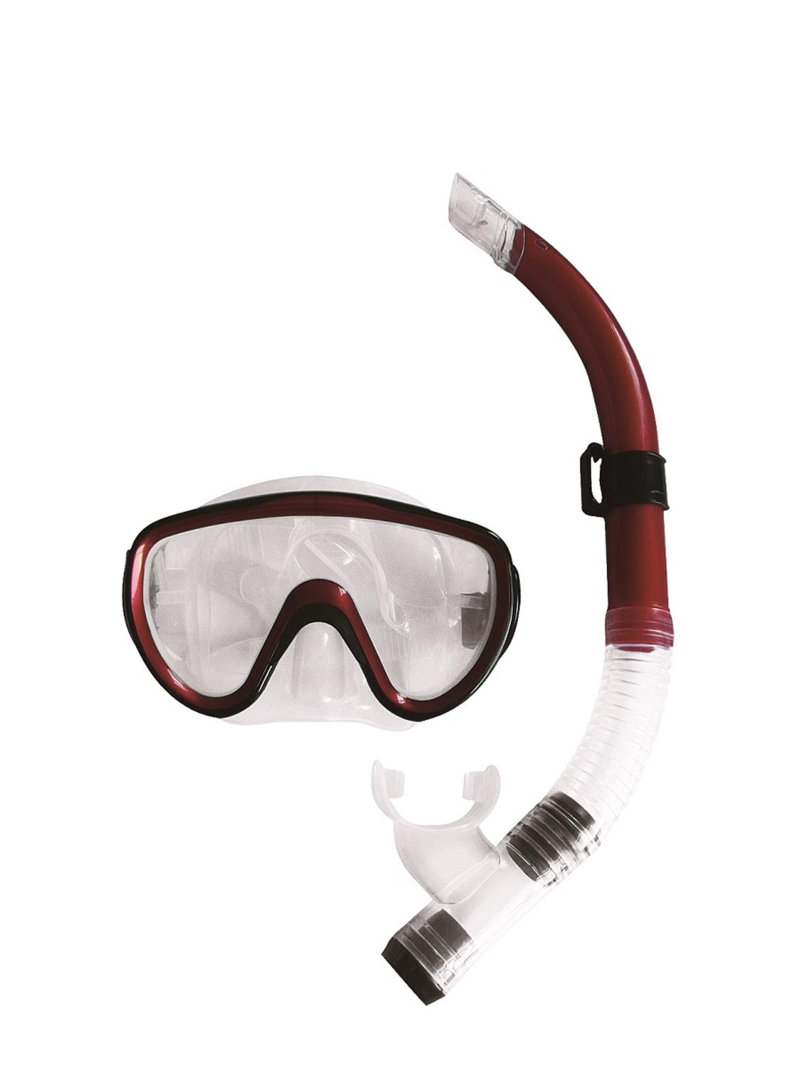 Burgundy-Red, Black and Clear Zray Teen Young Adult Scuba Mask and Snorkel Dive Set by Pool Central