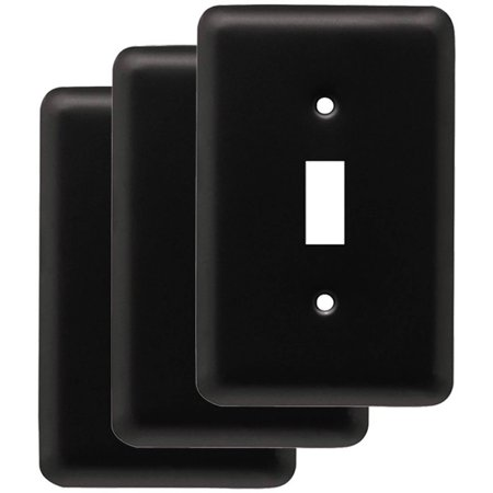 Flag Switch (Franklin Brass Stamped Round Single Switch Wall Plate in Flat Black, 3-Pack )