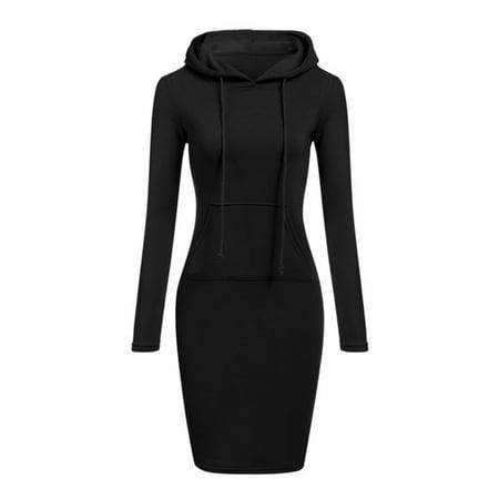 Womens Plain Drawstring Hooded Sweatshirt Long Sleeve Slim Hoodie Dress Winter