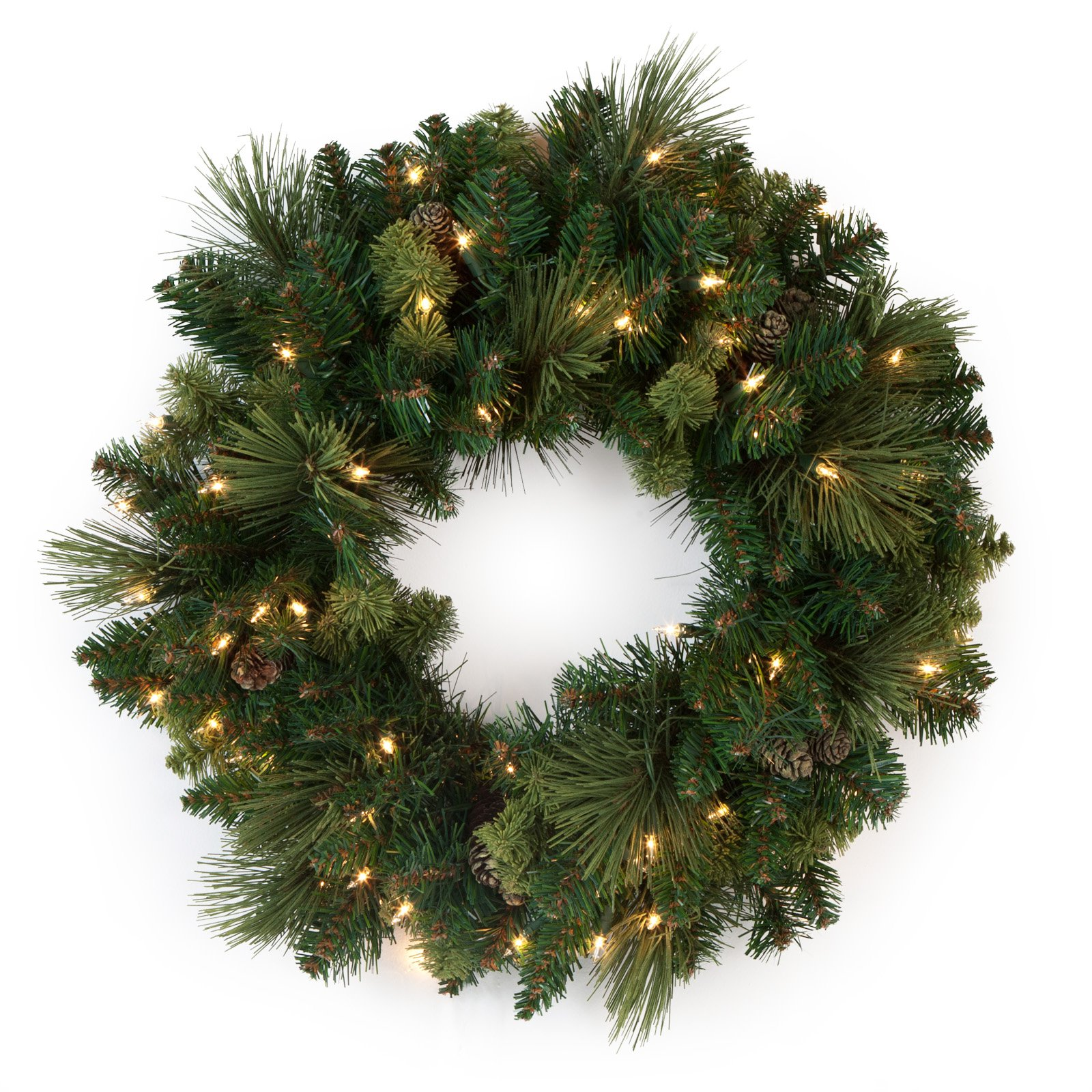 National Tree Pre - lit 24 Carolina Pine Wreath With 10 Flocked Cones And 50 Clear Lights