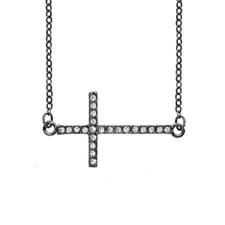 X & O Black Rhodium Plated Crystal Horizontal Cross Necklace