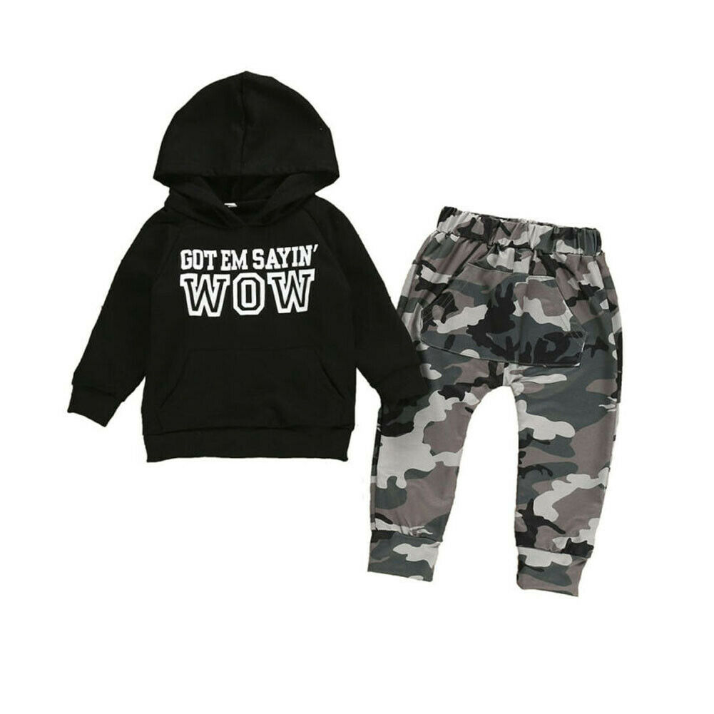 Toddler Kids Baby Boy Clothes Hooded Hoodies Tops Camouflage Pants Outfits Set