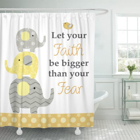 PKNMT Yellow Baby Quotation for Nursery and Kids Room Gray Polyester Shower Curtain 60x72 inches