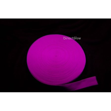 Blacklight Reactive Glo-Line Luminescent Fabric Streamer Ribbon- 80ft (Magenta), Neon colored in normal light; highly fluorescent under blacklight By DirectGlow LLC,USA - Coloured Streamers