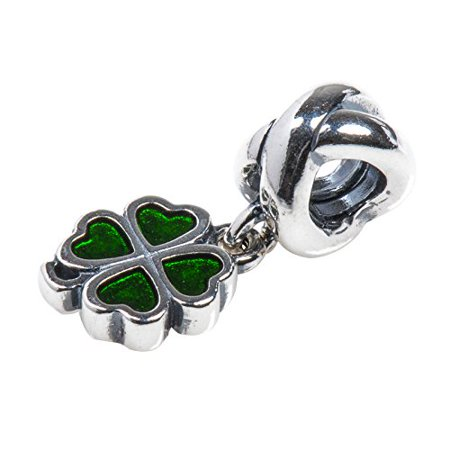 Authentic Four Leaf Clover Pendant Charm in 925 Sterling Silver with Green Enamel, 790572EN25