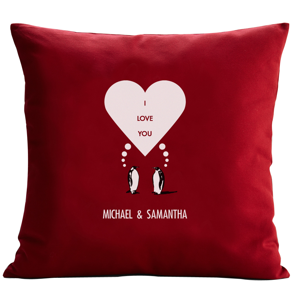 Personalized RedEnvelope Penguin Couple Throw Pillow 12x18 or 18x18