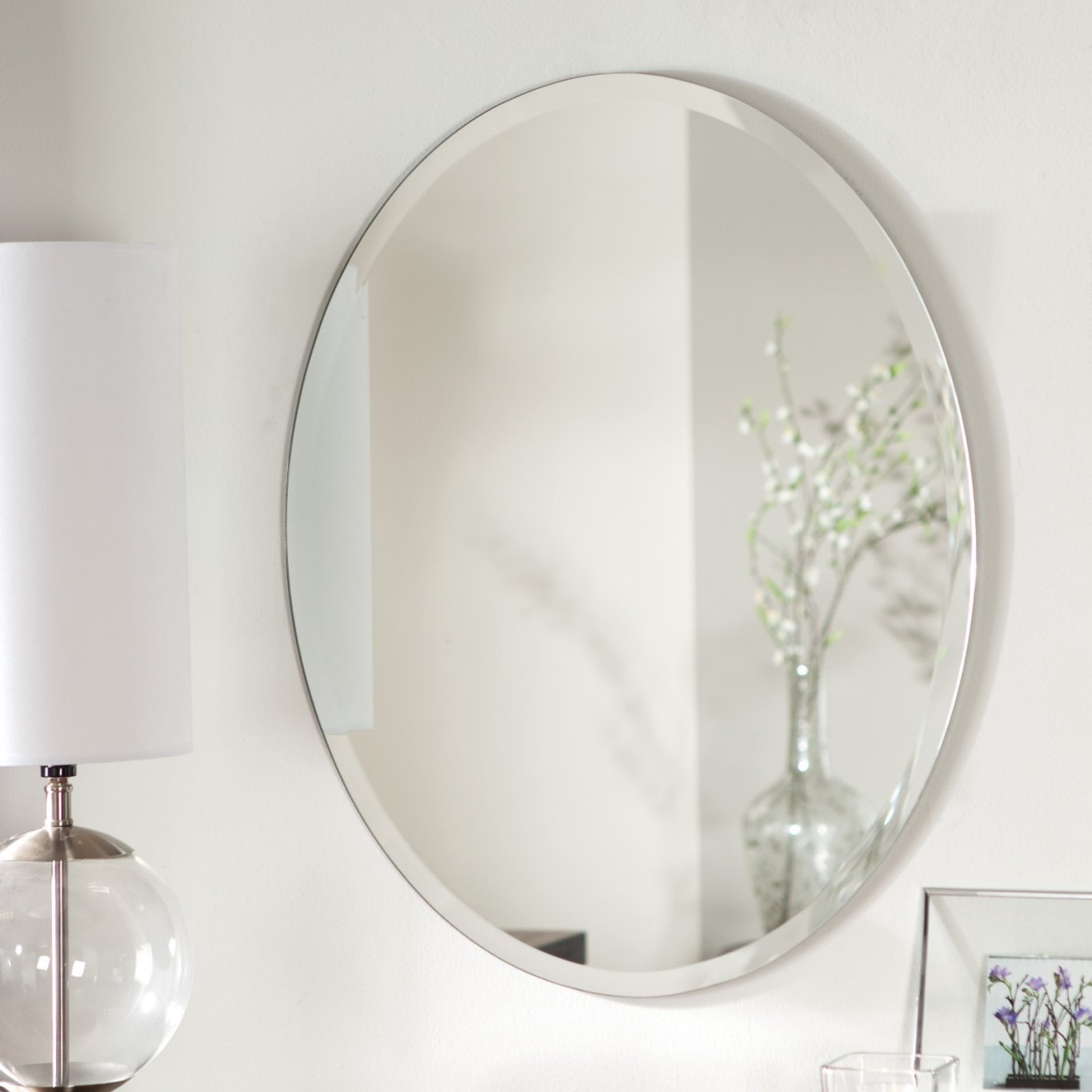 Décor Wonderland Odelia Oval Bevel Frameless Wall Mirror 22 Inx28 In