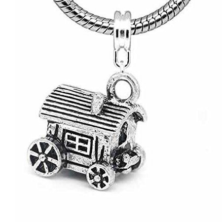 Horse Carriage Charm Dangle European Bead Compatible for Most European Snake Chain Bracelet