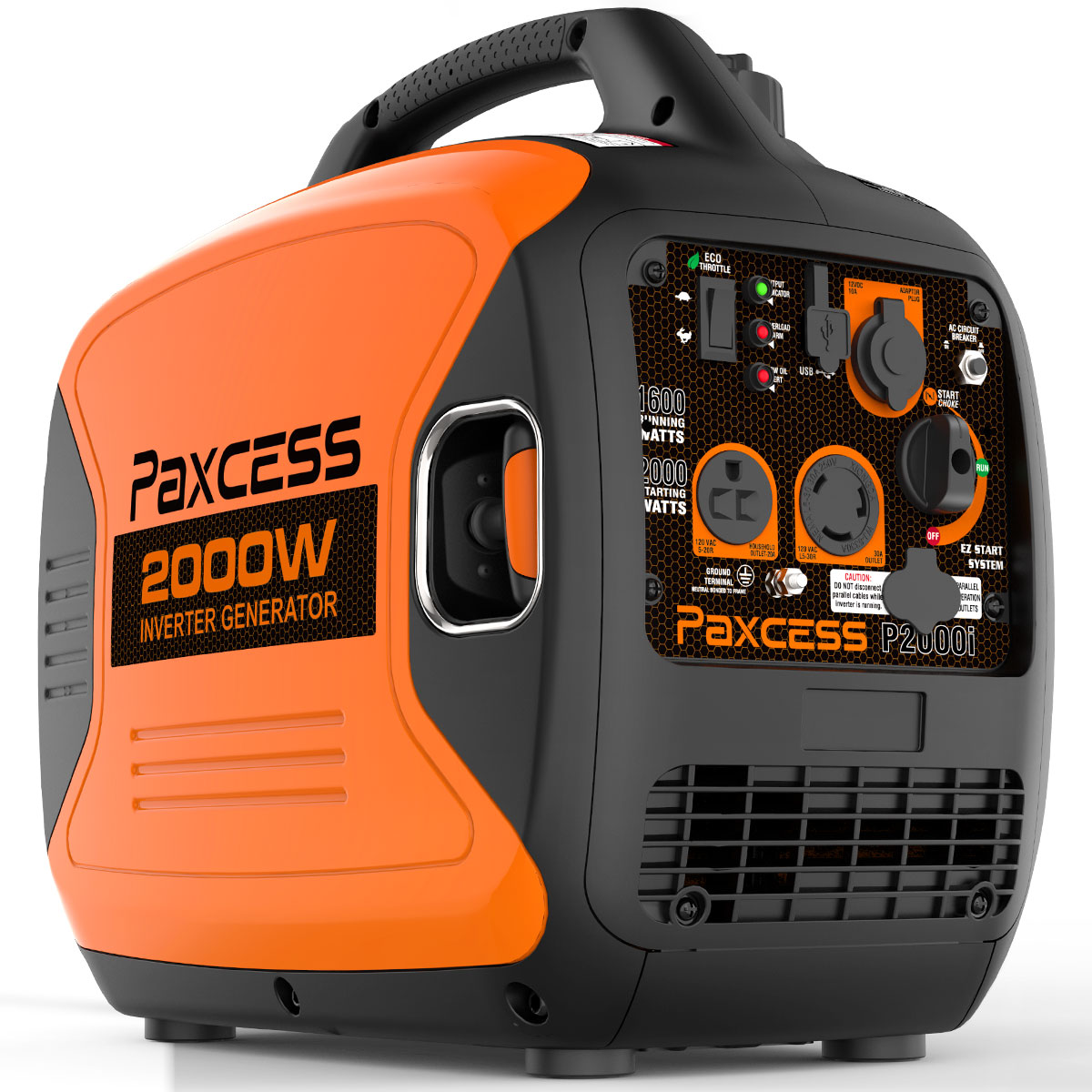 Paxcess 2000 Watt Generator RV Parallel Ready Inverter Generator With Eco-Mode, CARB Complaint, 120V 30A/20A AC Outlet/USB/Cigarette Ports/12V DC Output