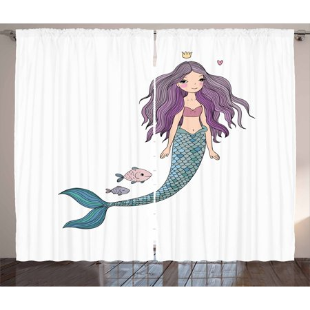 Fantasy Curtains 2 Panels Set, Cartoon Mermaid Princess with Wavy Hair Crown Little Pink Heart and Fish, Window Drapes for Living Room Bedroom, 108W X 84L Inches, Violet Blue and Beige, by Ambesonne