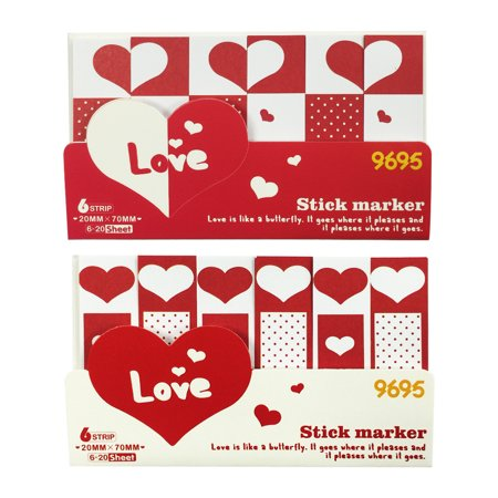 Wrapables® Bookmark Flag Tab Sticky Notes (Set of 2), Sweetheart