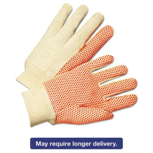 Ors Nasco 1090 1000 Series Pvc Dotted Canvas Gloves, Orange/black, Large, 12 Pairs