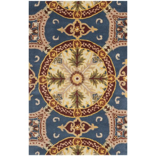 Charlton Home Amory Hand-Tufted Wool Blue/Gold Area Rug