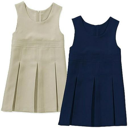 Toddler Girls Jumper (George Toddler Girl School Uniform Jumper Dress, 2-Pack Value Bundle )