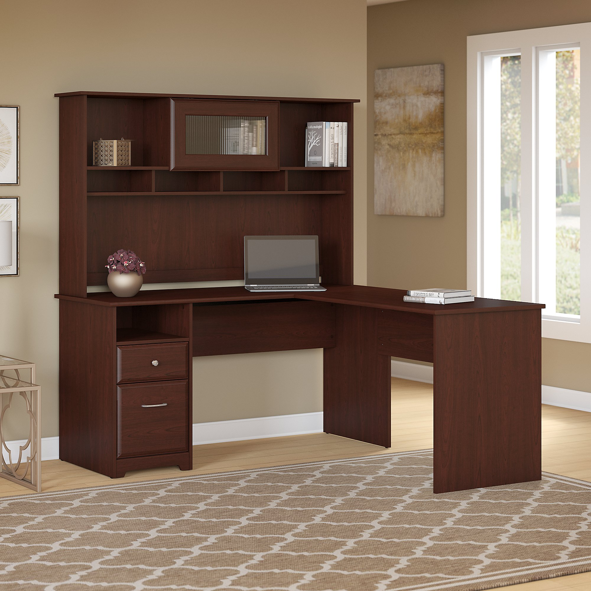 Bush Furniture Cabot 60w L Shaped Computer Desk With Hutch