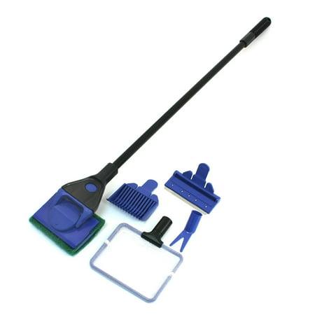 Unique Bargains Blue Black Nonslip Handle Net Aquarium Tank Cleaning Tool Cleaner Sets ()