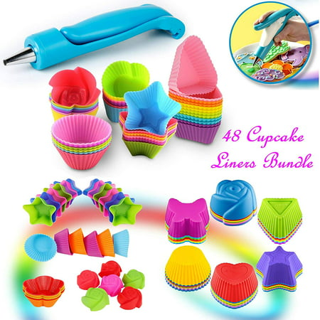 53-Pcs Set Reusable Silicone Cake Molds Baking Molds Muffin Cups & Icing Pen Kit, Nonstick & Heat Resistant baking cups Cupcake baking Liners