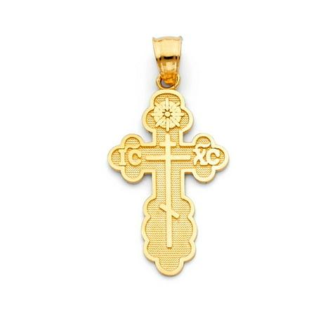 14K Solid Italian Yellow Gold St. Olga Greek Orthodox Baptismal Cross Crucifix Religious Size 26mm by 18mm Pendant
