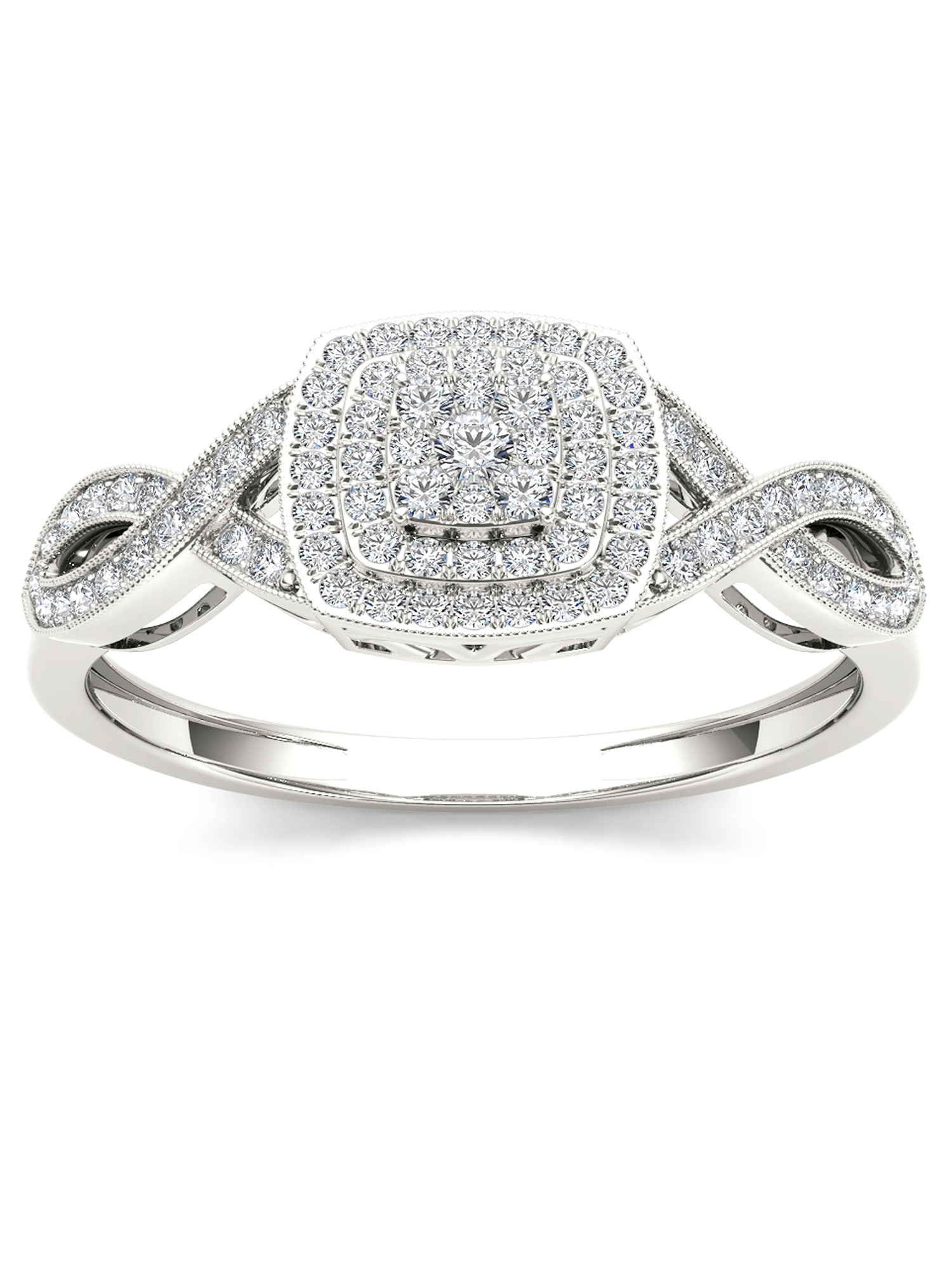 Imperial 1/4Ct TDW Diamond 10K White Gold Criss-Cross Engagement Ring