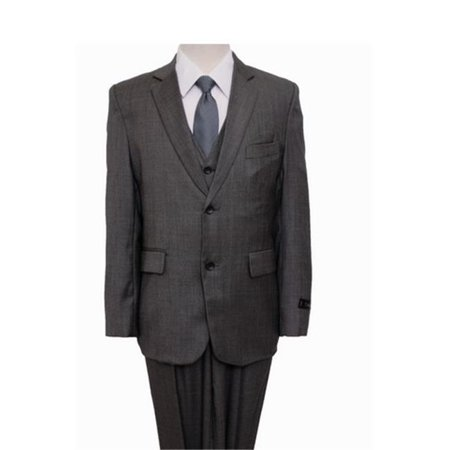 - Mens Suits  Windowpane 2 Button Front Closure Interior Pick Stitching Boys Suits  Grey - 16