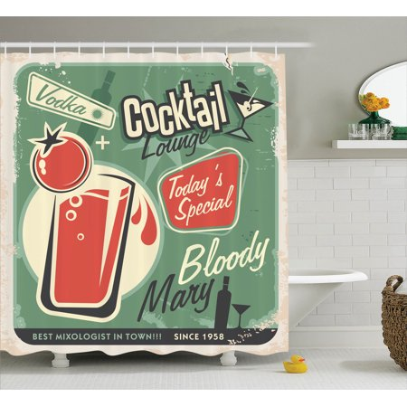 1950S Decor Shower Curtain Set, Nostalgic Poster Bar Art For Today'S Special The Famous Cocktail Bloody Marry And Vodka, Bathroom Accessories, 69W X 70L Inches, By Ambesonne