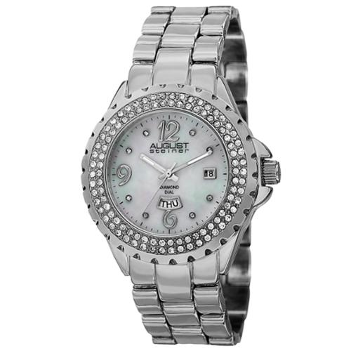 August Steiner  Women's Quartz Diamond Silver-Tone Bracelet Watch