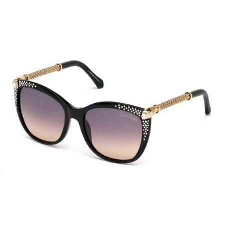 Roberto Cavalli Eyewear Shiny Black Frame Gradient Smoke Lens Sunglasses ()