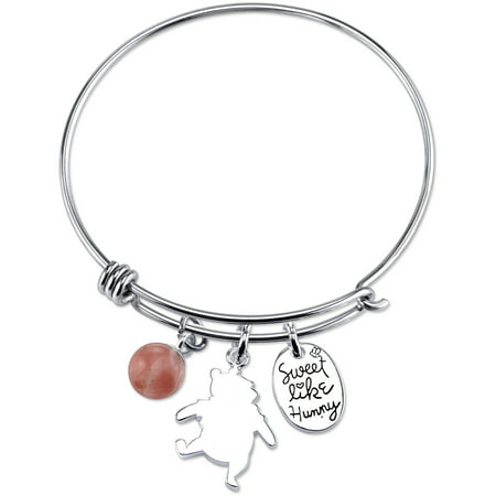 Winnie the Pooh Women's Stainless Steel Sweet Like Honey and 8mm Cherry Quartz Bead Catch Bangle Bracelet Beaded Stretch Bangle Bracelet