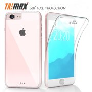 iPHONE 7/8 CLEAR CASE, NEW BEYOND CELL CLEAR FULL-BODY PROTECTION TRI-MAX TRANSPARENT CASE BUILT-IN SCREEN GUARD TPU WRAP SLIM COVER FOR APPLE iPHONE 7/8