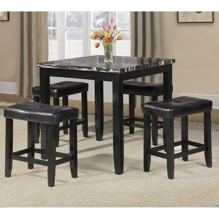 Faux Marble Counter - Acme Blythe 5-Piece Counter-Height Dining Set, Faux Marble and Black