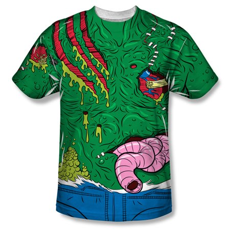 Halloween Spooky Costume Cut Up Slimy Green Monster Adult Front Print T-Shirt - Slimy Foods For Halloween