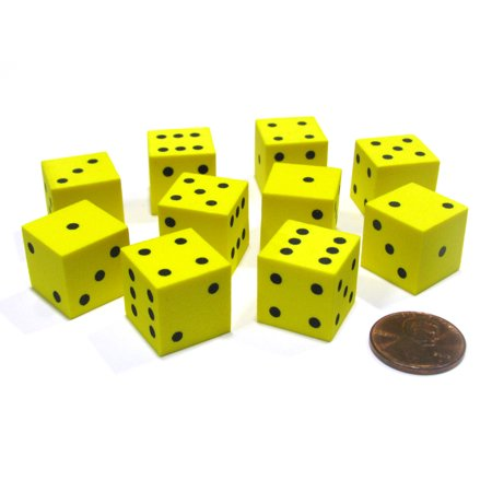 Koplow Games Set of 10 D6 16mm Foam Dice with Square Corners - Yellow with Black Spots #16798