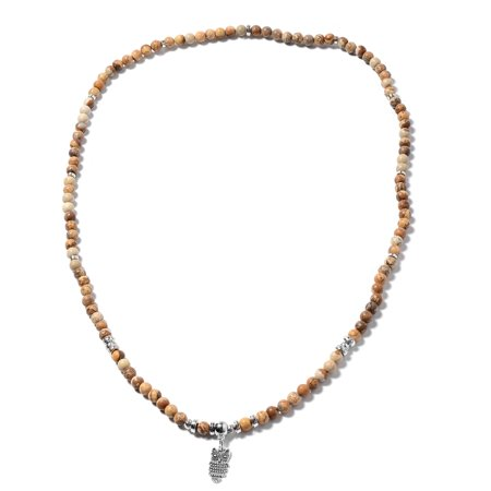 Bead Strand Necklace Picture Jasper Antique Silver Plated Silvertone Size 35