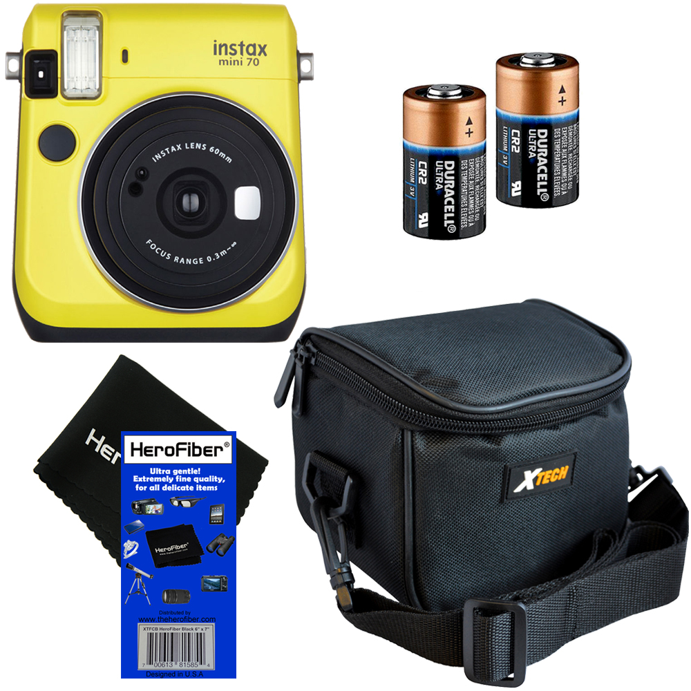 Fujifilm Instax Mini 70 Instant Film Camera (Canary Yellow) + Xtech Well Padded Camera Case with Pocket & Strap + 2 CR2 Lithium Replacement Batteries + HeroFiber�� Ultra Gentle Cleaning Cloth