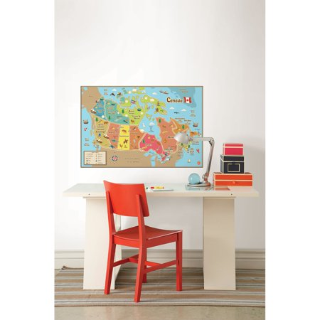 WallPops Kids Canada Dry Erase Map Decal
