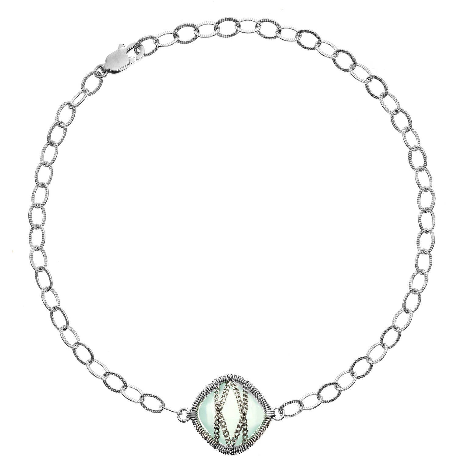 5th & Main Sterling Silver Hand-Wrapped Single-Squared Chalcedony Stone Bracelet by Generic